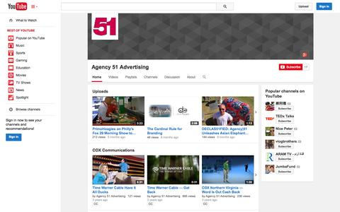 Screenshot of YouTube Page youtube.com - Agency 51 Advertising  - YouTube - captured Oct. 23, 2014