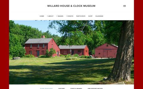 Screenshot of Contact Page willardhouse.org - Plan Your Visit — Willard House & Clock Museum - captured Oct. 20, 2018