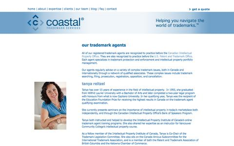 Screenshot of Team Page coastalip.com - Trademark Agent, Intellectual Property Agent | Coastal Trademark Services - captured Oct. 2, 2014