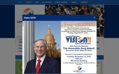 Screenshot of Home Page laredochamber.com - Laredo Chamber of Commerce   Laredo, Texas - captured Sept. 27, 2018