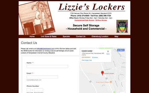Screenshot of Contact Page Maps & Directions Page lizzieslockers.com - Contact Lizzies Lockers in Hampstead Maryland Secure Self Storage - captured Oct. 31, 2018