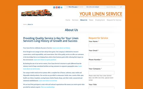 Screenshot of About Page yourlinenservice.com - About Us | Your Linen Service - captured Oct. 19, 2018