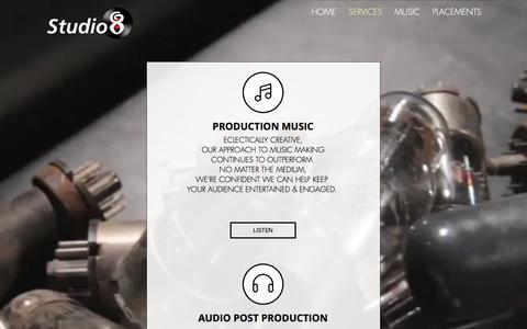 Screenshot of Services Page studio8.ca - Studio 8 Audio Production & Studio Services - captured Nov. 10, 2017