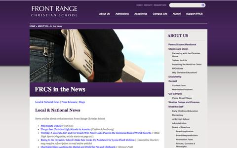 Screenshot of Press Page frcs.org - FRCS in the News | Front Range Christian School - captured Oct. 6, 2014