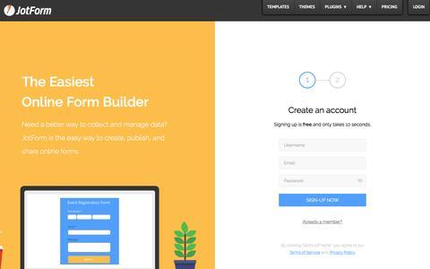 Screenshot of Signup Page jotform.com - Signup · JotForm - captured Oct. 4, 2016