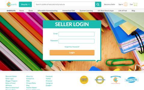 Screenshot of Login Page educents.com - Seller Login | Educents - captured July 11, 2016