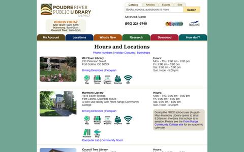 Screenshot of Locations Page poudrelibraries.org - Hours and Locations: Poudre River Public Library District - captured Sept. 22, 2018