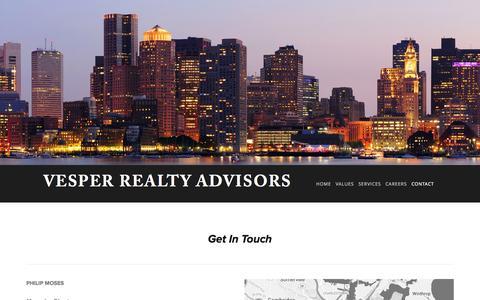Screenshot of Contact Page squarespace.com - Contact — Vesper Realty Advisors - captured Oct. 26, 2014