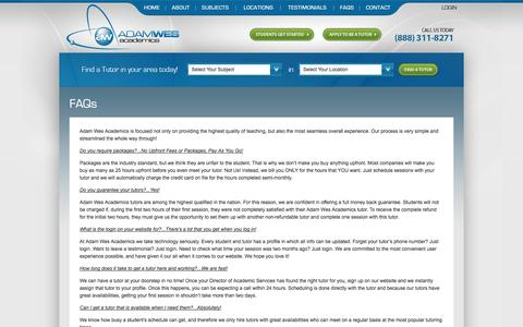 Screenshot of FAQ Page adamwes.com - FAQs about Math and Science Tutoring - captured Oct. 4, 2014