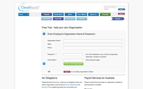 Screenshot of Trial Page cloudpayroll.com.au - Register Your Own Payroll - captured Oct. 2, 2014