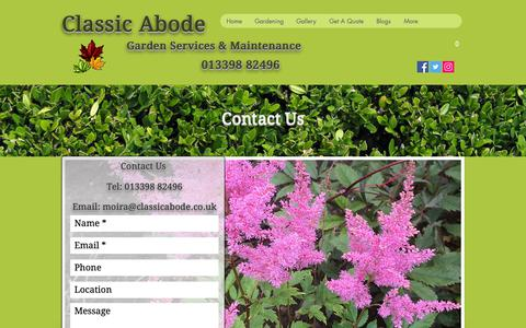 Screenshot of Contact Page classicabode.co.uk - Garden & Landscaping Services, Banchory, Aberdeenshire | Contact Us - captured Sept. 28, 2018