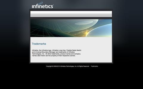 Screenshot of Terms Page infinetics.com - Trademarks - captured Sept. 30, 2014