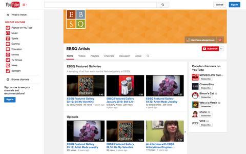 Screenshot of YouTube Page youtube.com - EBSQ Artists  - YouTube - captured Nov. 3, 2014