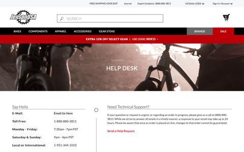 Screenshot of Contact Page jensonusa.com - Help Desk             | Jenson USA - captured Oct. 13, 2018