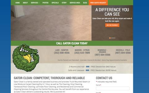 Screenshot of About Page gatorclean.net - About Us | Gator Clean | Lake, Marion, Sumter, Osceola, Orange, Seminole Counties, FL - captured Oct. 28, 2014