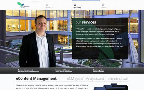 Screenshot of Services Page y-prime.com - Y Prime Services   eContent Management & Data Management   Y Prime - captured Sept. 17, 2014