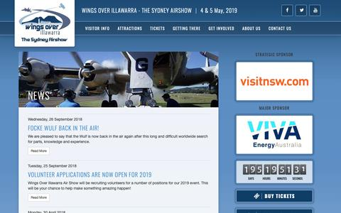 Screenshot of Press Page wingsoverillawarra.com.au - News - Wings Over Illawarra - captured Oct. 20, 2018