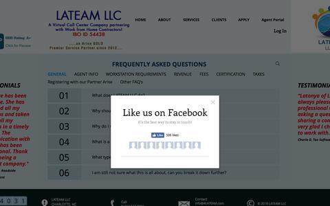 Screenshot of FAQ Page 4lateam.com - Work at Home | LATEAM LLC | FAQ - captured Sept. 25, 2018