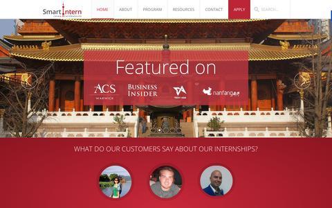Screenshot of Home Page smartinternchina.com - [Internships in China 2014] Your Internship in China with SmartIntern - captured Oct. 1, 2014