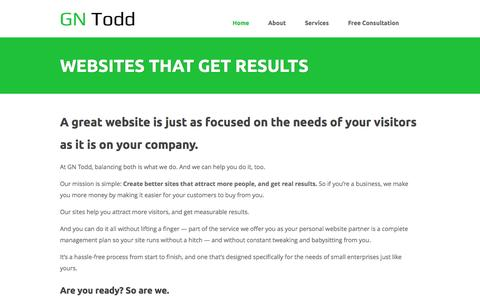 Screenshot of Home Page gntodd.com - GN Todd | Websites that get results. - captured Oct. 1, 2014