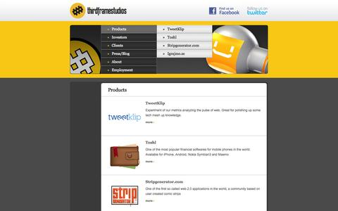 Screenshot of Products Page 3fs.si - Products            > ThirdFrameStudios - captured Oct. 7, 2014