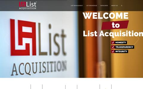 Screenshot of Home Page listacq.com - List Acquisition - captured Oct. 2, 2014