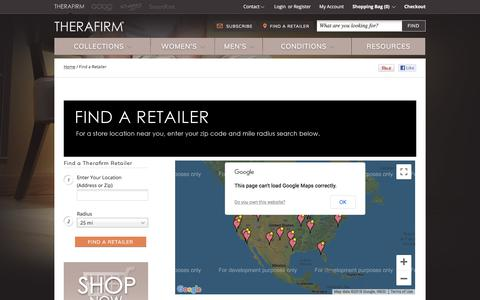 Screenshot of Maps & Directions Page therafirm.com - / Find a Retailer  | Compression Support Hose  | Compression Support Hose - captured Sept. 20, 2018