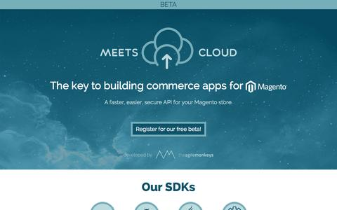 Screenshot of Home Page meets.io - Meets Cloud - The key to building commerce apps for Magento. - captured Oct. 6, 2014