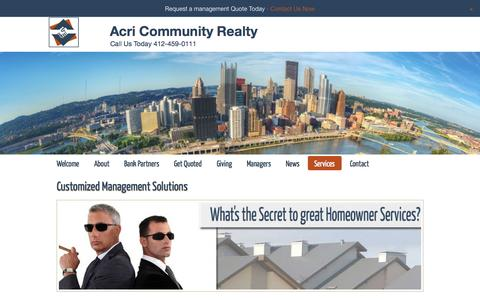 Screenshot of Services Page acrirlty.com - Services | Acri Community Realty - captured Nov. 2, 2014