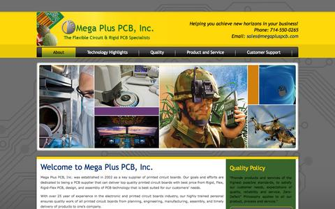 Screenshot of Home Page About Page megapluspcb.com - Mega Plus PCB Inc - captured Oct. 6, 2014
