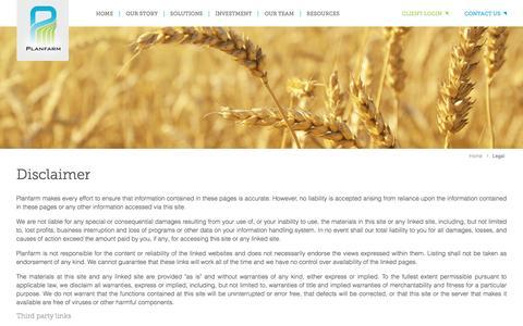 Screenshot of Terms Page planfarm.com.au - Legal - captured May 17, 2017