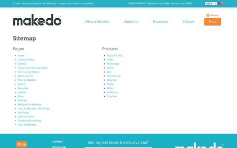 Screenshot of Site Map Page mymakedo.com - Makedo - captured Oct. 30, 2014