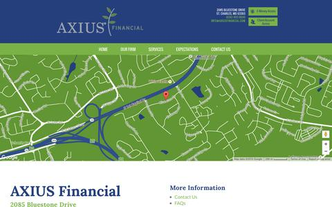 Screenshot of Maps & Directions Page axiusfinancial.com - Contact Us | AXIUS Financial | St. Louis Financial Services - captured July 27, 2016