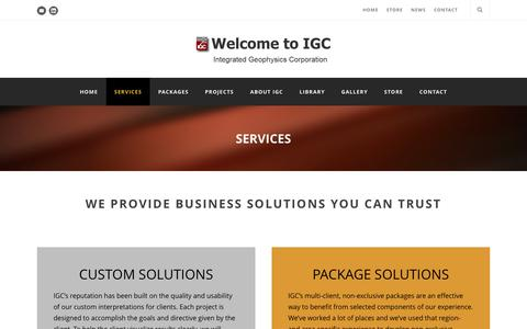 Screenshot of Services Page igcworld.com - Services - captured Feb. 11, 2016