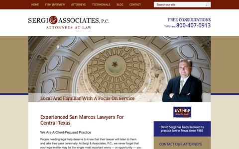 Screenshot of Home Page sergilaw.com - San Marcos Attorneys | Criminal Defense, Family Law, Personal Injury | Sergi & Associates, P.C. - captured June 14, 2016
