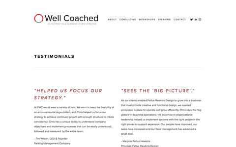 Screenshot of Testimonials Page wellcoachedconsulting.com - Testimonials — Well Coached - captured Nov. 15, 2017