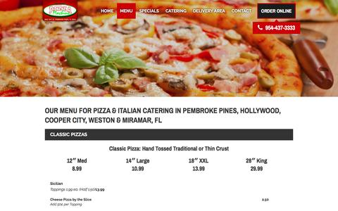 Screenshot of Menu Page pizzamachineonline.com - Pizza/Catering Menu: Pembroke Pines, Hollywood & Miramar, FL | - captured Nov. 7, 2016