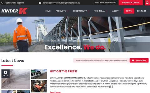 Screenshot of Press Page kinder.com.au - Latest News and Product News | Conveyor Solutions | Kinder Australia - captured Oct. 15, 2018