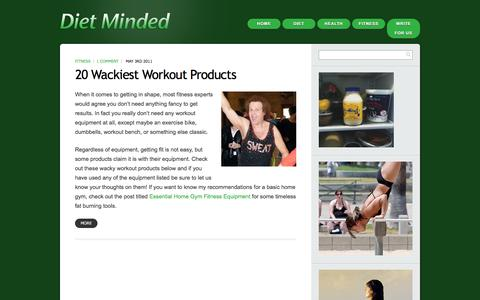 Screenshot of Products Page dietminded.com - Products - Diet Minded health and diet blogDiet Minded health and diet blog - captured Jan. 7, 2016