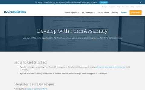Screenshot of Developers Page formassembly.com - (1) New Message! - captured Oct. 9, 2019