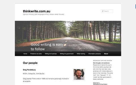 Screenshot of Team Page thinkwrite.com.au - Our people | thinkwrite.com.au - captured Dec. 23, 2016