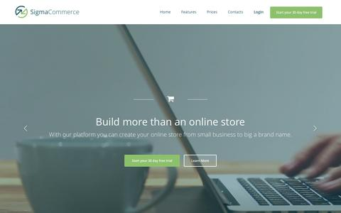 Screenshot of Home Page sigma-commerce.com - Sigma - More than just e-commerce | Online Stores with Digital Marketing Strategy - captured April 15, 2016