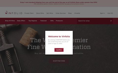 Screenshot of Home Page vinfolio.com - Vinfolio | Buy Fine Wines Online | Wine Collection Storage in Napa, CA - captured Dec. 12, 2017