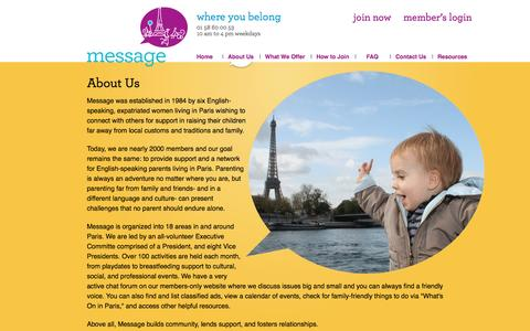 Screenshot of About Page messageparis.org - About Us - captured Nov. 28, 2016