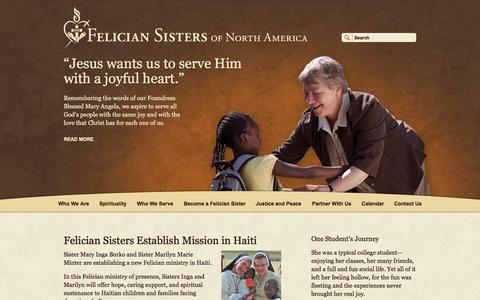 Screenshot of Home Page feliciansistersna.org - Felician Sisters of North America, Inc - captured Oct. 5, 2014