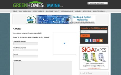 Screenshot of Contact Page greenhomesofmaine.com - Contact   GreenHomesofMaine.com - The Source for Sustainable Living in Maine - captured Sept. 30, 2014