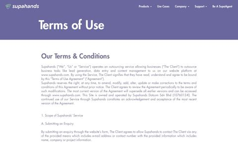 Screenshot of Terms Page supahands.com - Terms of Use - captured Nov. 10, 2017