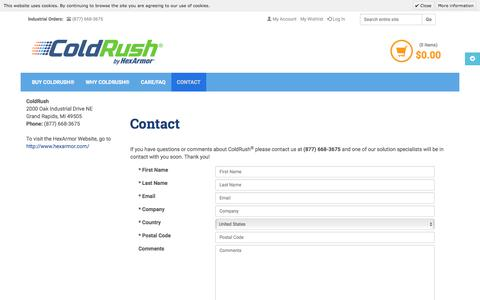 Screenshot of Contact Page coldrush.com - Contact Us | ColdRush by HexArmor® - captured Oct. 2, 2017