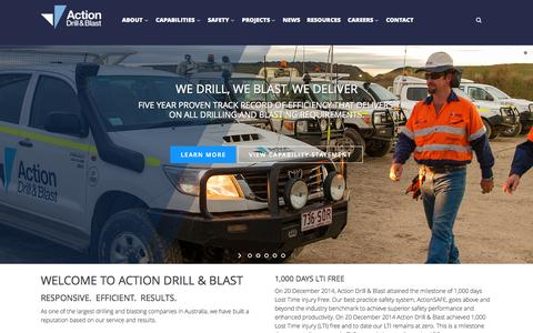 Screenshot of Home Page actiondb.com.au - Drilling Companies - Drilling Contractors | Action Drill & Blast - captured Sept. 11, 2015