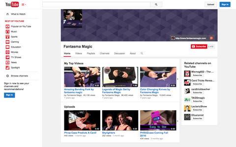 Screenshot of YouTube Page youtube.com - Fantasma Magic  - YouTube - captured Oct. 23, 2014